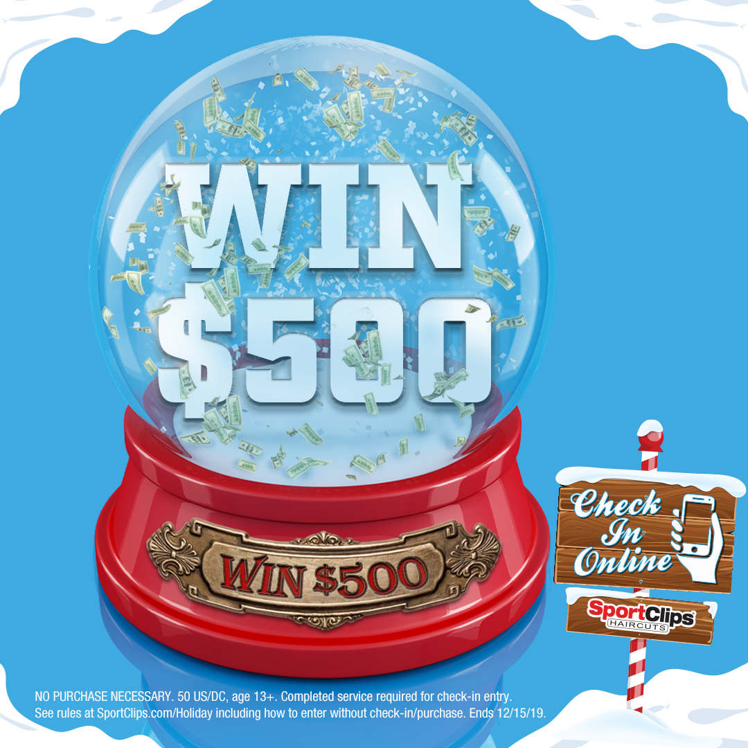 Sport Clips Holiday Halftime cash giveway logo
